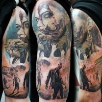 Horror movie themed multicolored shoulder tattoo of various monsters and zombies