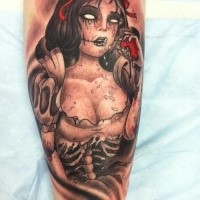 Horror style colored leg tattoo of zombie woman with apple and bow