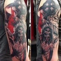 Horror style colored shoulder tattoo of creepy Jesus on cross