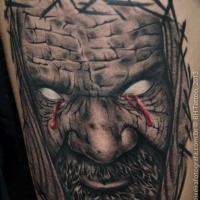 Horror style colored tattoo of evil men with beard