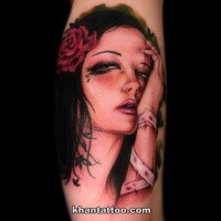 Horror style colored tattoo of mystical woman with flower