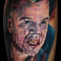 Horror style creepy looking bloody vampire face