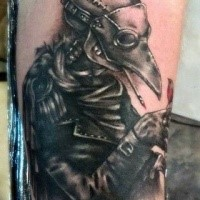 Horror style creepy looking forearm tattoo of plague doctor