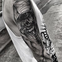 Horror style creepy looking painted by Inez Janiak sleeve tattoo of creepy demon