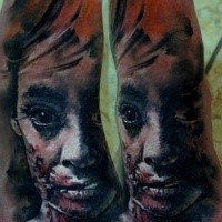 Horror style creepy looking tattoo of zombie woman