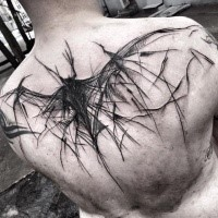 Horror style large black ink upper back tattoo of creepy bat