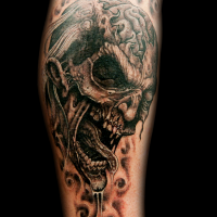 Horror video game like detailed black ink forearm tattoo of monster zombie face