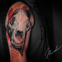 Horse skull tattoo on shoulder