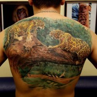 Huge amazing jaguar tattoo for whole back