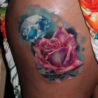 Hyper Realistic rose and diamond tattoo