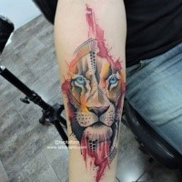 Illustrative art style forearm tattoo of lion with black dots