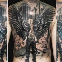 Illustrative style black and white angel man in city