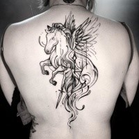 Illustrative style black ink back tattoo of pegasus horse with fantasy woman warrior