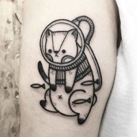 Illustrative style black ink cat diver tattoo with small fishes