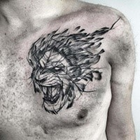 Illustrative style black ink chest tattoo of roaring lion by Inez Janiak