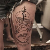 Illustrative style black ink thigh tattoo of large ship with lettering