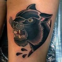 Illustrativer Stil cartoonischer schwarzer Panther Tattoo