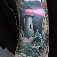 Illustrative style colored arm tattoo of lighthouse with skull and pink beam