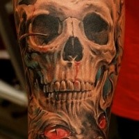 Illustrative style colored arm tattoo of human skull stylized with mystic symbol