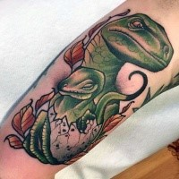 Illustrative style colored arm tattoo of dinosaur family