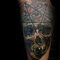 Illustrative style colored arm tattoo of human skull with dark star