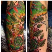 Illustrative style colored arm tattoo of cool looking chameleon
