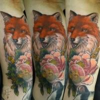 Illustrativstil farbiger Arm Tattoo des Fuchses mit Blumen