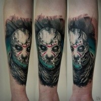 Illustrative style colored arm tattoo of creepy monster face