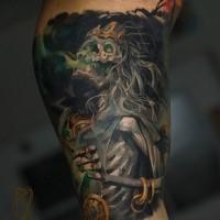 Illustrative style colored arm tattoo of fantasy evil skeleton king