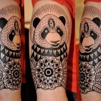 Illustrative style colored arm tattoo of big panda with flowers