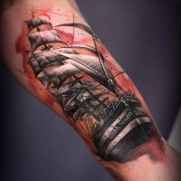 Illustrative style colored arm tattoo of big sailing ship