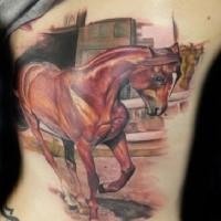 Illustrative style colored back tattoo of beautiful horse