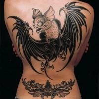 Illustrative style colored back tattoo of big funny bat