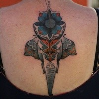 Illustrative style colored back tattoo of saint elephant with flowers