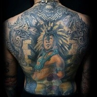 Illustrative style colored back tattoo of ancient Aztec man with sculptures