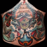 Illustrative style colored belly tattoo of pirate skeleton with sharks and anchor