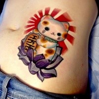 Illustrative style colored belly tattoo of awesome maneki neko japanese lucky cat with lotus flower with golden tablet