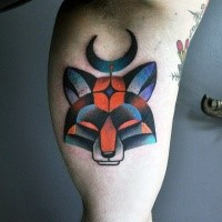 Illustrative style colored biceps tattoo of small fox head