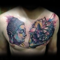 Illustrative style colored chest tattoo of Buddha statue with lotus flower