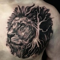 Illustrative style colored chest tattoo of lion head with big tree