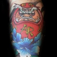 Illustrative style colored evil daruma doll with blue flower