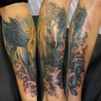 Illustrative style colored forearm tattoo of Pegasus horse