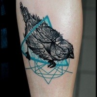 Illustrative style colored forearm tattoo of little bird with triangle