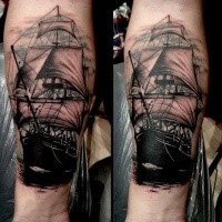 Illustrative style colored forearm tattoo of vintage sailing ship