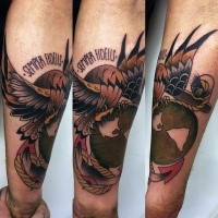 Illustrative style colored forearm tattoo of roped Eagle with and lettering