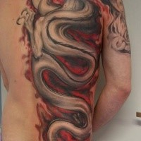 Illustrative style colored half back tattoo of big dragon