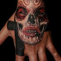 Illustrative style colored hand tattoo of Mexican like woman portrait