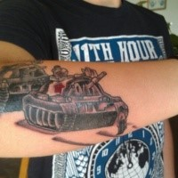 Illustrative style colored hand tattoo of military tanks