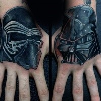 Illustrative style colored hand tattoo of Star Wars sith helmets