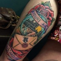 Illustrative style colored Harry Potter movie Hogwarts school tattoo on thigh with lettering